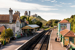 Corfe Castle railway station (Keith in Exeter) Tags: corfe castle railway train station track signalbox hill ruins people time history tourism dorset england landscape transport fort outdoor building architecture preservation fortification rail