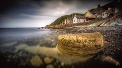 The Creature from the Deep (Augmented Reality Images (Getty Contributor)) Tags: aberdeenshire beach canon clouds coastline colours cottages crovie landscape leefilters longexposure rocks scotland village water