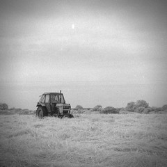 Mechanical Horse [Pen EE] (Mr B's Photography) Tags: tractor field blackandwhite infrared olympus penee halfframe