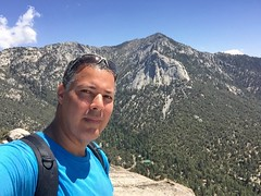 I Did It! View of Tahquitz Peak from Suicide Rock - Idyllwild (Blue Rave) Tags: 2016 sanjacintomountains trail nature idyllwild california ca iphonephotography iphoneography trees suiciderocktrail hike hiking suiciderock tahquitzpeak lilyrock mountains self myself ego me bloke dude guy male mate people selfie thecolorblue blue
