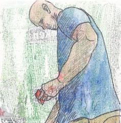# 258 (14-09-2016) (h e r m a n) Tags: herman illustratie tekening bock oosterhout zwembad 10x10cm 3651tekenevent tegeltje drawing illustration karton carton cardboard man male