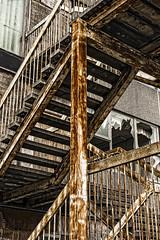 bridge the vertical (HHH Honey) Tags: nikon1v2 nikkor1030lens nikon urbanrustanddecay urban decay abandoned buildings disused swindon wiltshire windows brokenwindows rust stair staircase enteredinsyb perfecteffects10 onone on1 derelict