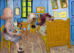 dolls in van gogh room with vase (mydolladventure) Tags: dolls fashiondoll rosie vangogh