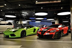 Dressed-UP HyperCars. (ImZaidHamid) Tags: city red white black verde green slr london cake gold mercedes benz design candy duo mc mclaren mercedesbenz lp brake rims westfield lamborghini oakley laren qatar combo ithica flaked plated callipers mansory qatari 7602 renovatio worldcars 80808 111191 aventador lp7602