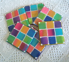 Shimmering Squares (klio1961) Tags: color arcoiris spring rainbow colorful squares handmade unique oneofakind decorative crafts polka polymerclay fimo resin dots madebyme multicolor authentic coasters shimmering beautifull pardo cernit premo liquidglass micapowders  xeiropoiito  o decoratedobjects