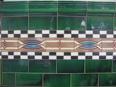 Tile Dado of the Former Caledonian Hotel  High Street Yea (raaen99) Tags: blue red brown white black detail green coffee wall bar diamonds tile ceramic hotel town pub inn pattern architecturaldetail victorian drinking cream australia victoria frieze artnouveau tiles commercial tavern victoriana pottery nouveau yea 20thcentury highstreet shopfront edwardian federation guesthouse roadhouse 1900s cobalt crazed dado artsandcraftsmovement artsandcrafts highst ellipses caledonianhotel 1901 countryvictoria artscrafts chequered majolica publicbar twentiethcentury commercialbuilding countrytown architecturalfeature grandcentralhotel geometricpattern arabesques artscraftsmovement majolicatiles edwardiana provincialvictoria tubelining tubelined chequeredpattern australianfederation hostlery tiledfrieze linkedellipses dadowall friezetiles