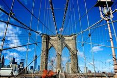 Brooklyn Bridge cable arrangements (rmartinsssz) Tags: nyc newyorkcity travel bridge blue winter usa newyork nova janeiro manhattan unitedstatesofamerica january cable ponte eua brooklynbridge brooklin novaiorque novayork suspendedbridge estadosunidosdaamerica 2013 nikond90 rmartinsssz