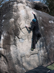 2013 attempt on La Marie Rose (Bas Cuvier, Fontainbleau) (Ian Mulvany) Tags: france climbing bouldering fontainbleau lamarierose