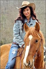 Elizabeth Bennet:  Bareback (Images by A.J.) Tags: blue horses horse woman hat female bareback back model women cowboy jean bare jeans western editorial chestnut denim equestrian equine