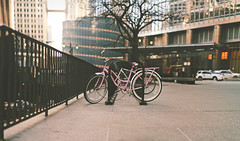 Pink Bike (vonderauvisuals) Tags: life old city pink people urban panorama chicago streets color cars up look field bike canon real 50mm downtown mood sitting cityscape post artistic photos bokeh background candid famous 14 feel citylife bob lifestyle windy places panoramic faded 7d processing environment stolen feeling visuals ok trump technique hue locked depth tone stitched metropolitan method realistic correction simulated styled chicagoist brenizer vonderau corrective vsco vonderauvisuals