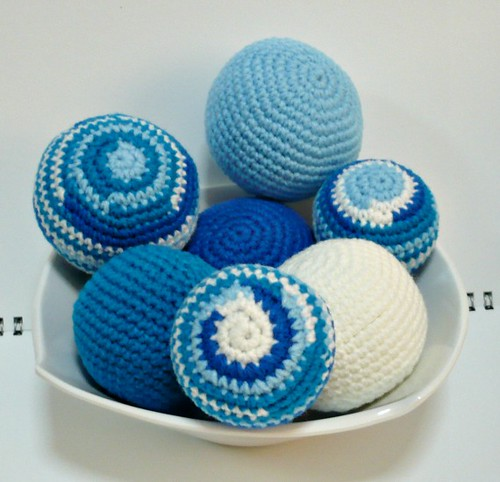 Vase or Bowl Fillers - Set of Seven Crocheted Balls