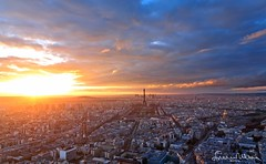 Dramatic sunset panorama of Paris - Tour Montparnasse (lathuy) Tags: city light sunset sky panorama mars sun paris tower beautiful seine clouds de soleil europe tour louvre lumière champs elysées coucher dramatic eiffel bleu ciel invalides romantic canon5d nuages montparnasse ville champ panoramique 24105 romantique