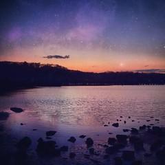 under stars (allison selby) Tags: ocean sunset sky newyork reflection beach colors night stars nikon waves stargazer longisland galaxy nightsky stargazing iphone instagram nikond5100