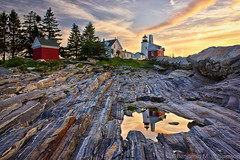 Pemaquid Lighthouse Reflection (BenjaminMWilliamson) Tags: ocean morning summer lighthouse me sunrise landscape dawn coast rocks maine scenic newengland rocky landmark tourist iconic pemaquid attraction pemaquidpoint midcoast