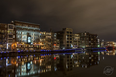 Urban River Reflected (CJ Schmit) Tags: longexposure urban water beer wisconsin night canon river lights dock milwaukee bluelights milwaukeealehouse milwaukeeriver shutterdrag starlights canonef1740mmf40lusm 5dmarkii canon5dmarkii cjschmit wwwcjschmitcom cjschmitphotography