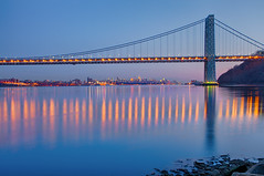 """The grace this tragedy exposed is the best of who we are"" (SunnyDazzled) Tags: city longexposure bridge sunset newyork water skyline night reflections river landscape lights evening cityscape manhattan shore after distance hdr georgewashingtonbridge takenin3layers"