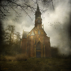 The mystic church (Mara ~earth light~) Tags: church photoshop creativecommons crow mystic intuition expressyourself contemporaryartsociety memoriesbook moodcreations daarklands mara~earthlight~ untouchabledream extraordinarilyimpressive