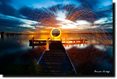 my spin (liipgloss) Tags: longexposure sunset lake jetty twirl sparks lakemacquarie steelwool squidsink
