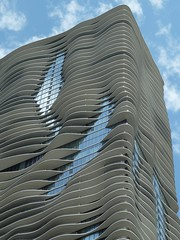 Chicago, Aqua Tower (Architect: Jeanne Gang) (in Explore, 4/22/13 #11) (lalobamfw (thanks for 600,000+ views)) Tags: blue chicago reflection building lines architecture clouds curves balconies wbez chicagoist condotower explorechicago aquatower citrit jeannegang