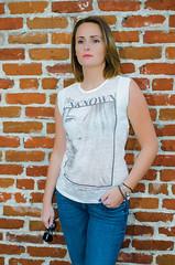 Mrs. Unknown (Mariusz Murawski) Tags: portrait woman girl fashion wall female pants sandiego outdoor jeans brickwall brunette levis zara fasion sb700 martamurawska mrsunknown