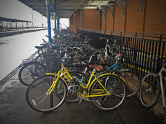 Bicycles (Nada*) Tags: uk station bike yellow mobile driving phone telephone cell bikes bicycles health 4s iphone iphonegraphy instagram cycsles