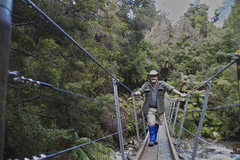 Crossing a swingbridge, Croesus track (Steve Attwood) Tags: bridge newzealand green forest canon stream hiking steve westcoast tramping swingbridge attwood croesustrack paparoaranges southislandhighcountry steveattqood
