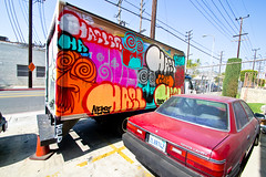 Haeler, Bonks (TheHarshTruthOfTheCameraEye) Tags: 30 truck graffiti la losangeles los angeles large run dirty ups otr msk d30 throw throwups bonkers dms atlarge ontherun throwies dirty30 btm bonks alwaysloaded losangelesgraffiti hael haeler alwayslit