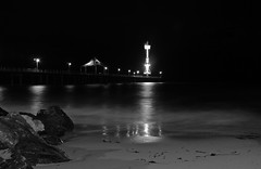By the Jetty (Fanourios) Tags: ocean white black beach night brighton fuji jetty australia x100 fujix100