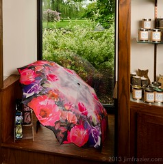 Umbrellas for Sale (Jim Frazier) Tags: park pink rain shop retail gardens museum umbrella shopping garden botanical store illinois spring display stock may dupage goods il business storefront botanic protective botanicgarden protection horticulture preserve botanicalgarden merchant inventory wholesale giftshop wheaton protect publicgarden cantigny mercantile wares dupagecounty cantignypark 2013 ldmay jimfraziercom wmembed ld2013