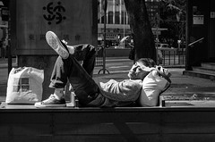 A Sunny Morning in the land of Nod (Hong Kong Eye) Tags: china sleeping monochrome hongkong homeless tinhau chinesepeople blackandwhitephotos 2013 mainlander nikond7000