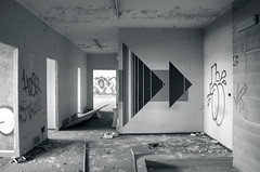 AK_Portal III (| Ak |) Tags: abstract black art abandoned geometric triangles triangle factory geometry ak optical illusion portal walls opart abandonedspace postgraffiti opticalart akdwg