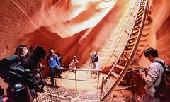 Wide angle of stairs in Antelope Canyon (maaachuuun) Tags: lowerantelopecanyon stairs fisheye