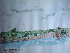 MENORCA. CALA PUDENTA. 09-16 (joseluisgildela) Tags: carnetsdeviaje menorca calapudenta islasbaleares sketchs acuarelas