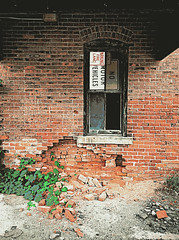 Flint Abandoned Building Window (SimsShots Photography) Tags: architecture historic historical deserted building vacant brick michigan poster posterized education urban decay
