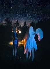 A tale of Love and Darkness (Bardia Photography) Tags: stars sky night forest girls lantern fire surreal story angel darkness nikond750 24mmf14 bardiaphotography neilgaiman shinjimoon canada gay