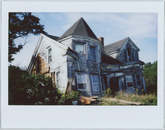 Falling Down House (Mycophagia) Tags: instax fujiinstax film analogue abandoned house crooked victorian maine wooden historical derelict landmark urbex urbanexploring rural