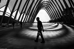 time (Georgina ) Tags: blackandwhite monochrome arches athens greece shadows manwalking