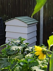 Beehive Composter (Blue sky and countryside.) Tags: homemade beehive compost bin woodwork gardening home derbyshire recycling england pentax bespoke courgette plants sunflower