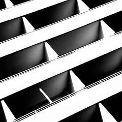 balcony abstract (morbs06) Tags: abstract architecture balcony building bw city diagonal facade highcontrast housing light lines shadow square stripes urban windows dsseldorf