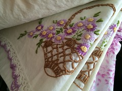 Vintage embroidered flower basket pillowcase set (eg2006) Tags: crocheted vintagelinen vintage flowerbasket vintagepillowcase pillowcase pillowcaseset embroidered vintageembroidery