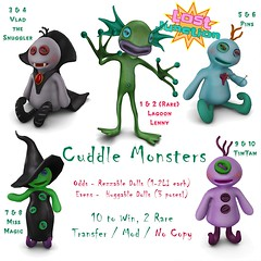 [LJ] Cuddle Monsters Gacha (Tala Laval) Tags: candy fair burton huggable plush second life stall booth signs vendor vampire voodoo witch cyclops lagoon creature gacha key