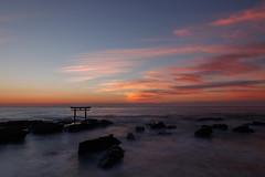 Dawn of the pacific ocean (t.kunikuni) Tags: jp             japan ibaraki ibarakiken oarai oaraimachi oaraiisomaejinjashrine oaraicoast pacificocean torii sea ocean sunrise dawn     landscape sun clouds red orange daybreak