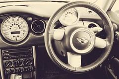 M (Rhia.photos) Tags: mini car auto automobile wheel blackwhite blackandwhite bw mono monotone monochrome image photo photograph photography angle perspective cooper minicooper steeringwheel leather