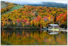 Echo Lake NH (Atif Rao) Tags: d5100 lake echo foliage water sky hut colour color mountain white mountains 1685 nikon5100