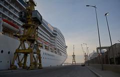 Orchestra Casablanca sunset 1 (PhillMono) Tags: nikon dslr d7100 ship boat vessel msc orchestra cruise voyage casablanca morocco dock harbour sunset