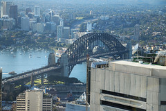 Sydney Tower - Sydney Harbour Bridge (lukedrich_photography) Tags: australia oz commonwealth أستراليا 澳大利亚 澳大利亞 ऑस्ट्रेलिया オーストラリア 호주 австралия newsouthwales nsw canon t6i canont6i history culture sydney سيدني 悉尼 सिडनी シドニー 시드니 сидней metro city cbd centralbusinessdistrict tower structure building architecture observation outlook viewpoint skyline eye amp westfield centrepoint harbour bridge steel arch rail train vehicle bicycle pedestrian transport northshore view coathanger portjackson bradfiled road highway expressway cahill park overlook cityscape water milsons point boat
