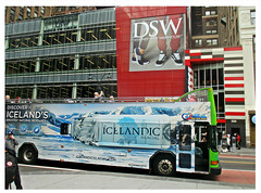 'NY Tours' Bus on West 34th St (Robert S. Photography) Tags: street scene tourbus tourists ad building shoes people windows nyc manhattan west34th city canon color powershot elph160 iso125 september 2016