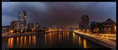 Meuse at Dusk (Falcdragon) Tags: sonya7alpha minoltaaf28mmf28 river liege belgium night lastlight dusk lights reflection water panorama starburst longexposure city cityscape urban dark colour