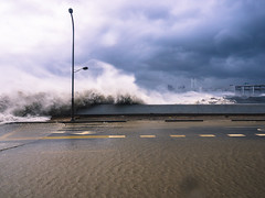 Angry Waves in Marine City (Todd Danger Farr) Tags: busan korea marinecity strom stormchasing waves ocean flooding wave white water darkclouds whitewater