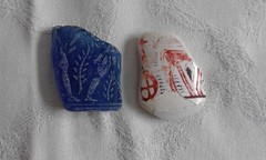 ancient greek theme sea glass-pottery (a tear for you greece) Tags: sea glass beach find greek aegean rare 1900s neo classic middle antiquity period blue cobalt chariot horses antique geometrical protoelladic